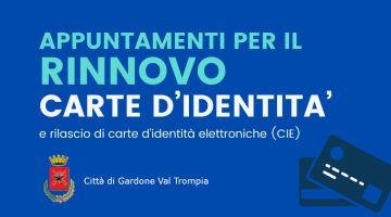 Appuntamenti per il rinnovo delle carte d'identità e rilascio di carte d'identità  elettroniche (CIE)