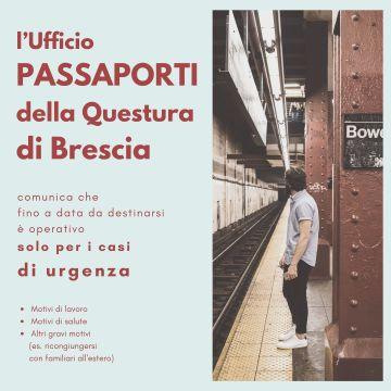 Comunicazione ufficio Passaporti Questura di Brescia